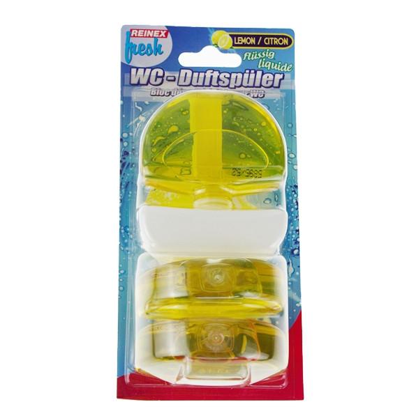 3 x 55 ml REINEX® WC-Duftspüler flüssig, 1 Körbchen + 3 Nachfüller | Lemon | reinigt und parfümiert