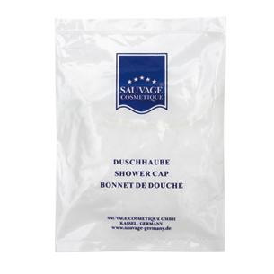 100 Stück Duschhauben MEGAPACK im weißen, bedruckten Sachet (weißer Kunststoffbeutel)