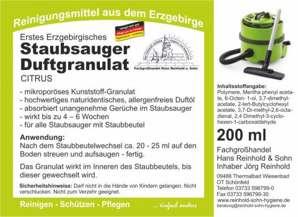 Erstes Erzgebirgisches Staubsauger-Duftgranulat Citrus 200 ml, duftende Frische für Staubsauger