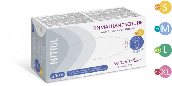 Sensilind Nitril Premium Einmalhandschuhe | 200 Stück | violett/blau, puderfrei