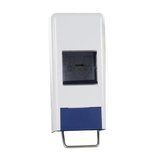 1er-System-Spender: Softflaschenspender/Universalspender geschlossen   weiß/blau   für 1000/2000 ml