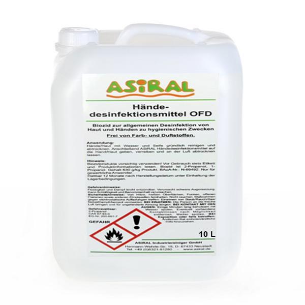 ASiRAL Händedesinfektionsmittel OFD | 10 Liter alkoholisches Desinfektionsmittel