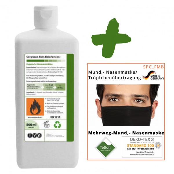 500ml IVN Corpusan alkoholische Händedesinfektion + 10 Stück Textile Mund-Nasenmaske schwarz +++ SET