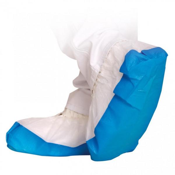 Überschuhe weiß-blau | 70 Stück | mit starker CPE-Sohle