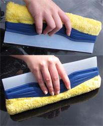 """Wasserabzieher """"Duo""""   29,5 cm breit   Abzieher aus Silikon mit Einwascher"""