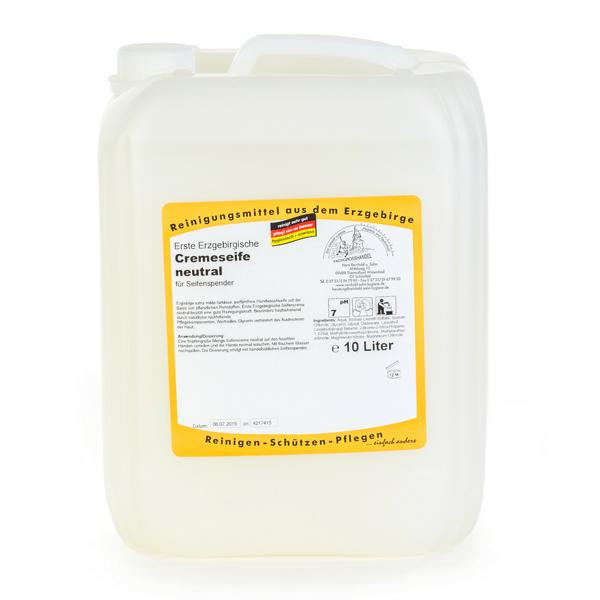 10 Liter Erste Erzgebirgische Cremeseife neutral | dermatologisch getestet, parfümfrei, pH-neutral