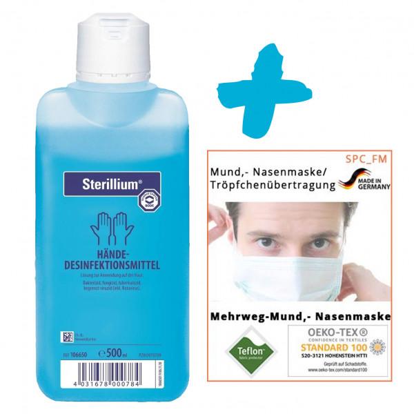 500ml Sterillium® classic pure Händedesinfektion + 10 Stück Textile Mund-Nasenmaske weiß +++ SET +++