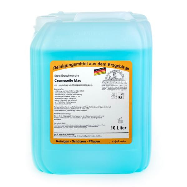 10 Liter Erste Erzgebirgische Cremeseife blau   mit Hautschutz und Spezialreibekörpern