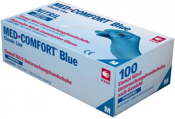 "Einweghandschuhe Nitril puderfrei, blau, ""MED COMFORT BLUE"" 100 Stück/Box"