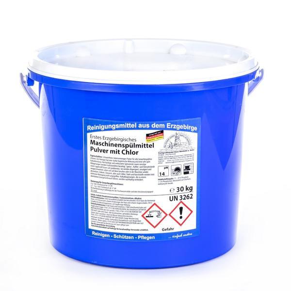 30 kg Erstes Erzgebirgisches Maschinenspülmittel Pulver mit Chlor | Intensivreinigungspulver