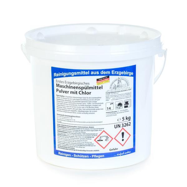 5 kg Erstes Erzgebirgisches Maschinenspülmittel Pulver mit Chlor | schaumfreier Intensivreiniger