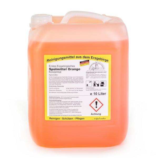 10 Liter Erstes Erzgebirgisches Spülmittel mit Orange, Konzentrat, Handspülmittel mit Hautschutz