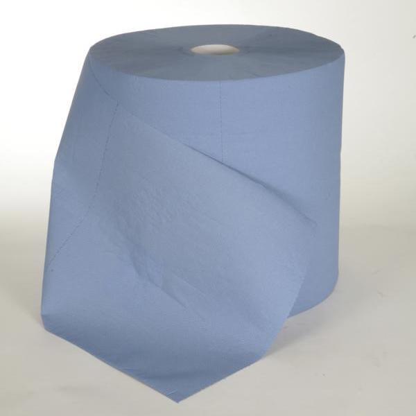 """1 Rolle Papierhandtücher Außenabrollung 3-lagig á 360m, Zellstoff blau, perforiert, """"TRIO"""""""