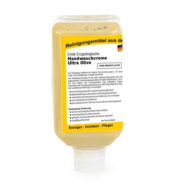 2 Liter Softflasche Erste Erzgebirgische Handwaschcreme Ultra Olive | Handreinigungsmittel
