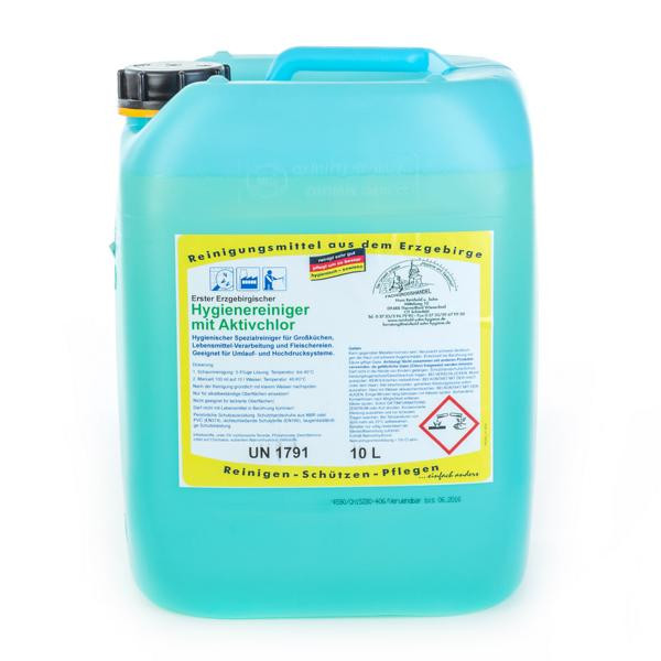 10 Liter Erster Erzgebirgischer Hygienereiniger mit Aktivchlor | hochalkalischer Spezialreiniger