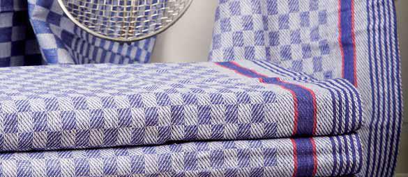 Grubenhandtuch glatt | 45 x 90 cm | Karo-Muster blau-grau mit roten Streifen, 95°C waschbar