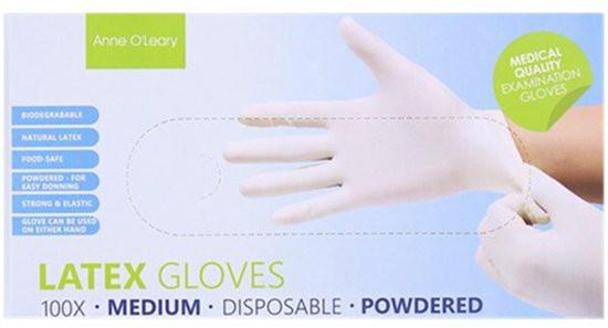 100 Stück/Box Einweghandschuhe Latex Handschuhe, gepudert, lebensmittelecht