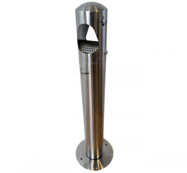 Standaschenbecher für Außenbereich, elegante schlanke Form, abschließbar, Edelstahl