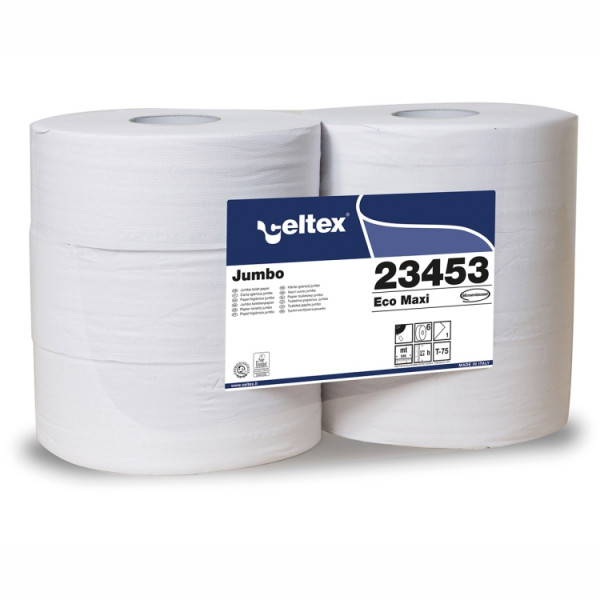 6 Rollen Toilettenpapier JUMBOROLLE 1-lagig á 525 m, perforiert, 6 Rollen/Sack