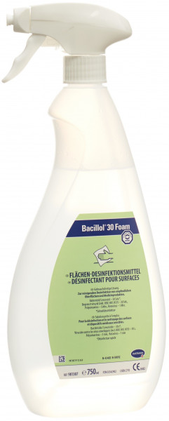750 ml Bacillol® 30 Foam | aldehydfreie, alkoholische Oberflächen-Schnell-Desinfektion