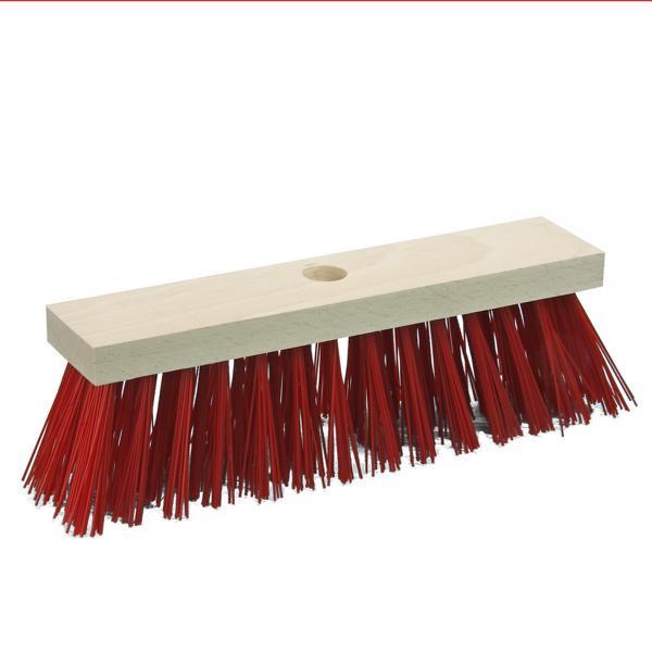 Straßenbesen 30 cm mit Stielloch | rote PVC-Borsten