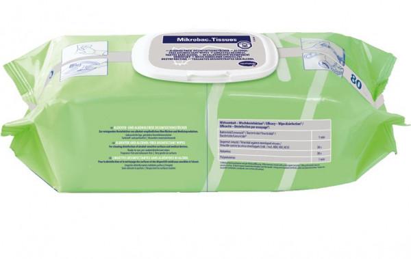 80 Tücher Mikrobac® Tissues, Flow Pack | alkohol- und aldehydfreie Desinfektionstücher