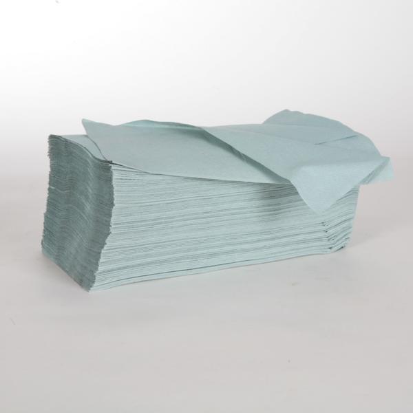 1 Karton Papierhandtücher 1-lagig, VORTEILSPACK 5.000 Blatt/Karton, 25 x 23 cm, Zick-Zack-Falz, grün