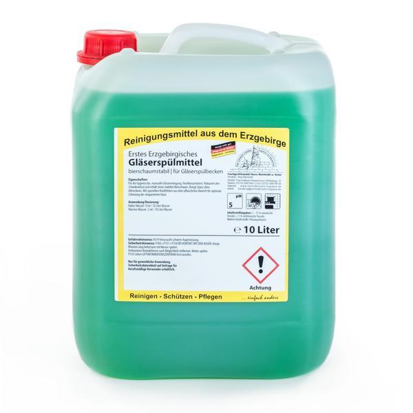 10 Liter Erstes Erzgebirgisches Gläserspülmittel   bierschaumstabil, für Gläserspülbecken