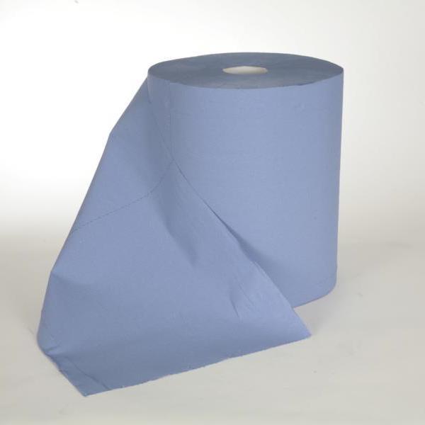 2 Rollen Papierhandtücher á 360 m Außenabrollung 2-lagig, Zellstoff blau, 2 Rollen/Sack