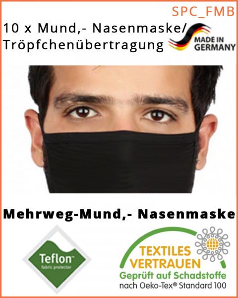 10 Stück Mundschutz, textile Mund-Nasenmaske, Behelfsmaske, Black-Edition, schwarz 10er Pack