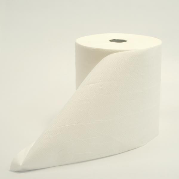 6 Rollen Papierhandtücher 2-lagig á 130 m, JUMBOPACK, Recycling weiß, 6 Rollen/Sack