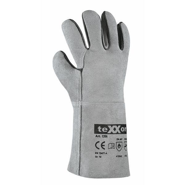 1 Paar Schweißerhandschuhe, Rindspaltlederhandschuhe, EN388, EN407, EN12477-A, 35cm lang
