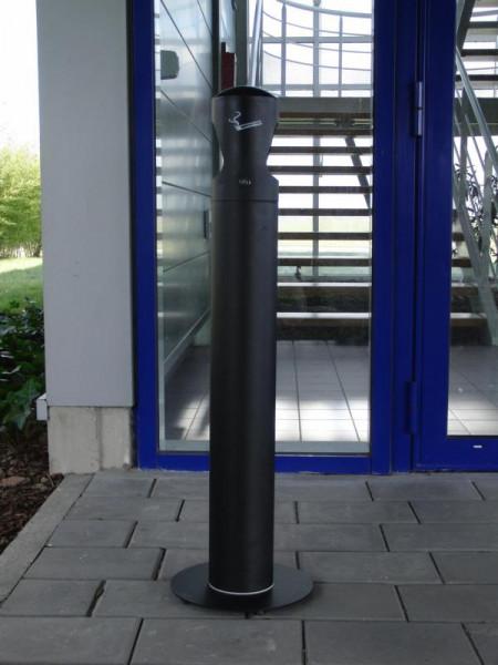 Standaschenbecher für Außenbereich, elegante schlanke Form, abschließbar, schwarz