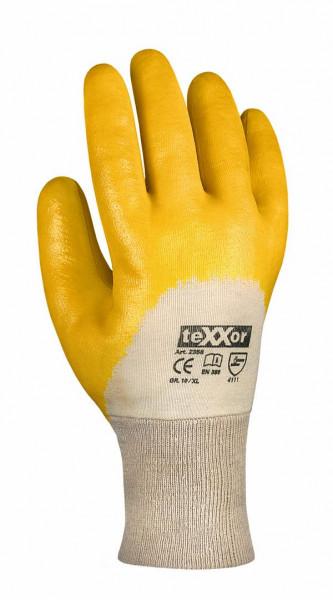 1 Paar Arbeitsschutzhandschuhe Nitril- beschichtet, mit Strickbund, gelb, TOP-Qualität