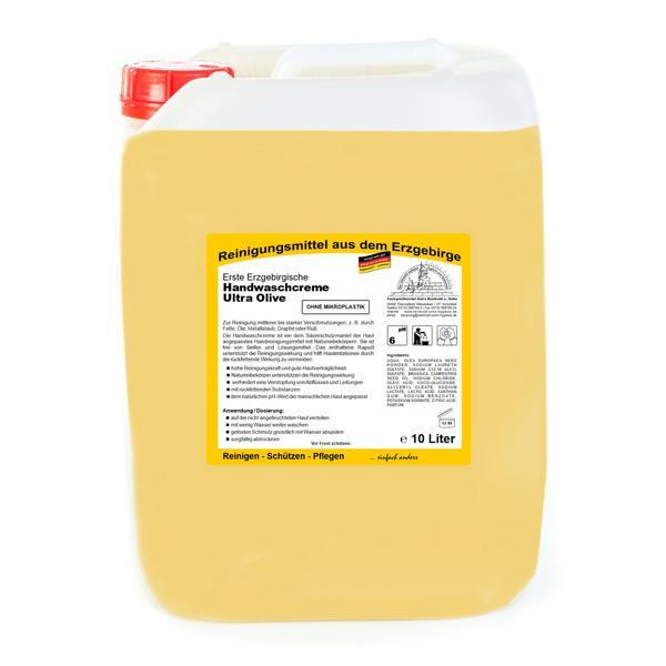10 Liter Erste Erzgebirgische Handwaschcreme Ultra Olive   Handreinigungsmittel ohne Mikroplastik