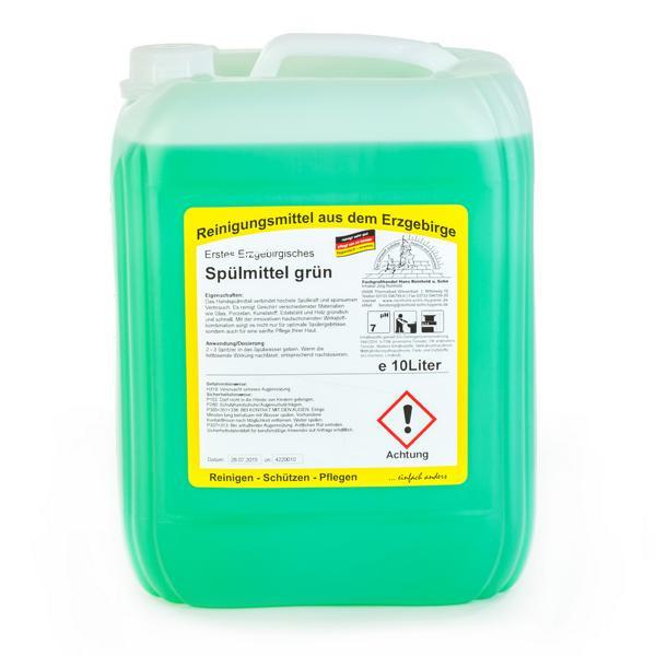 10 Liter Erstes Erzgebirgisches Spülmittel grün, mildes und neutrales Handspül- & Reinigungsmittel