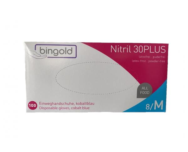 Bingold Einweghandschuhe Nitril 30PLUS | puderfrei, kobaltblau | 100 Stück/Box | unsteril