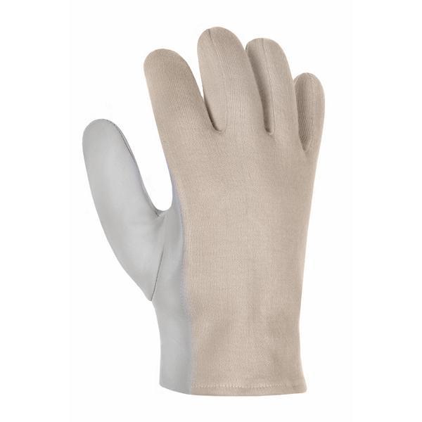 1 Paar Arbeitsschutzhandschuh Ziegen-/Schafsnappa-Handschuhe mit Trikotrücken | Größe 6 - 10 | natur