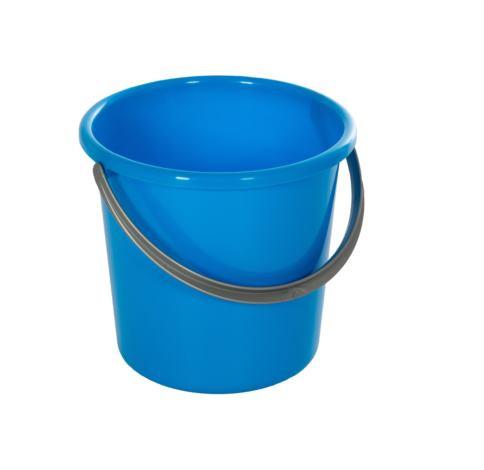 5 Liter Eimer rund, Universaleimer mit Kunststoffhenkel, Farbe: blau