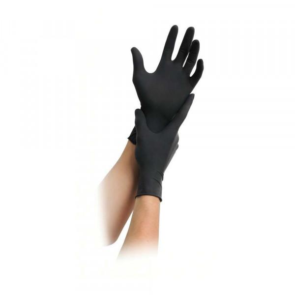 MaiMed® Black Latex Einweghandschuhe   schwarz, puderfrei   100 Stück/Box