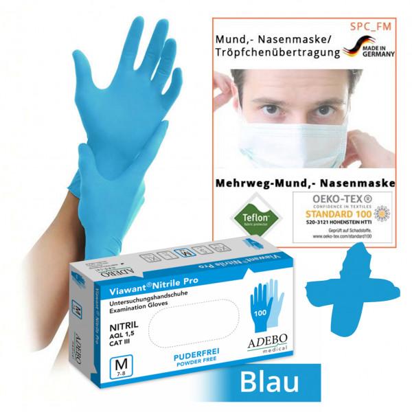 Einweghandschuhe Nitril puderfrei, blau, 100 Stück, Größe L + 10 Stück Textile Mund-Nasenmaske weiß