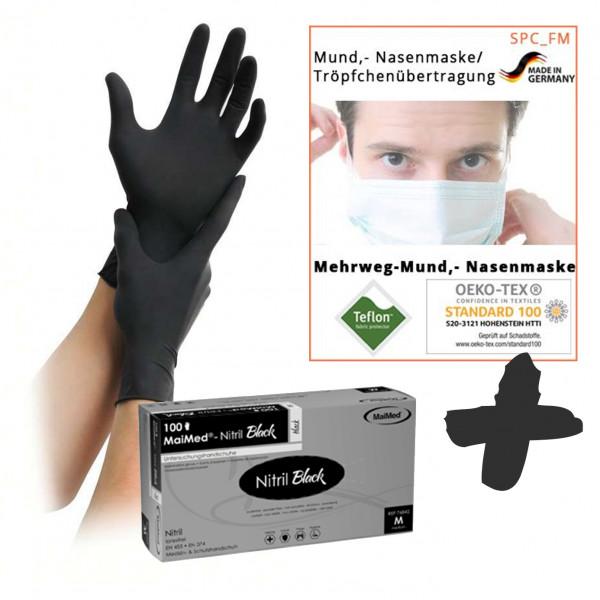 Einweghandschuhe Nitril, puderfrei, schwarz | 100 Stück/Box + 10 Stück Textile Mund-Nasenmaske weiß
