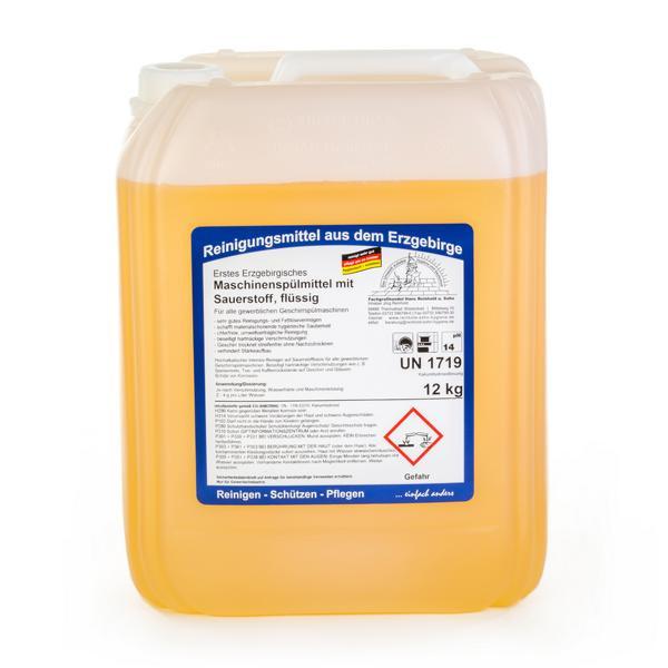 12 kg Erstes Erzgebirgisches Maschinenspülmittel mit Sauerstoff, flüssig, hochalkalisch