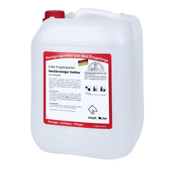 10 Liter Erster Erzgebirgischer Sanitärreiniger farblos I mit Frischeduft, kennzeichnungsfrei