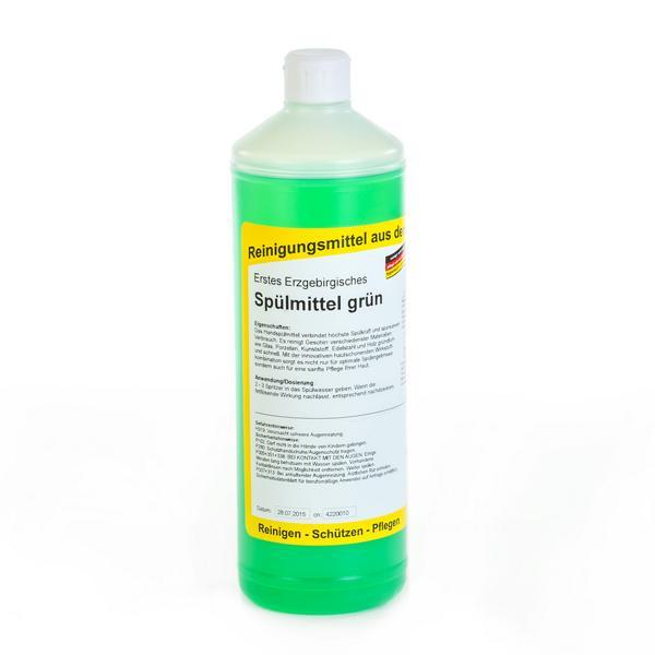 1 Liter Erstes Erzgebirgisches Spülmittel grün, mildes und neutrales Handspül- & Reinigungsmittel