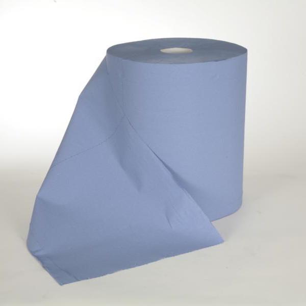 2 Rollen Papierhandtücher Außenabrollung 3-lagig á 180m, Recycling blau, 2 Rollen/Sack