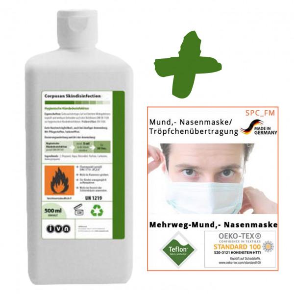 500ml IVN Corpusan alkoholische Händedesinfektion + 10 Stück Textile Mund-Nasenmaske weiß +++ SET ++